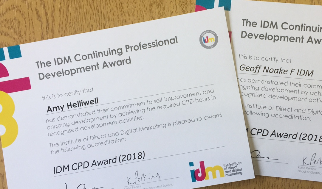 Amy & Geoff collect 2018 Institute of Direct Marketing CPD Awards